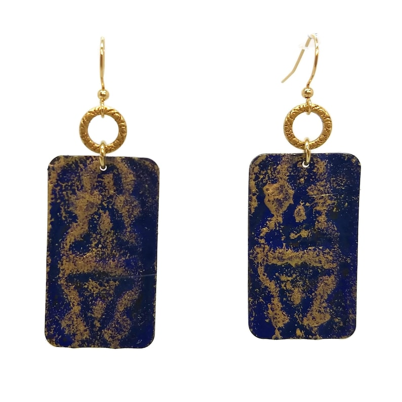 Midnight Blue Painted Rectangle Earrings Nickel Free Gold image 0