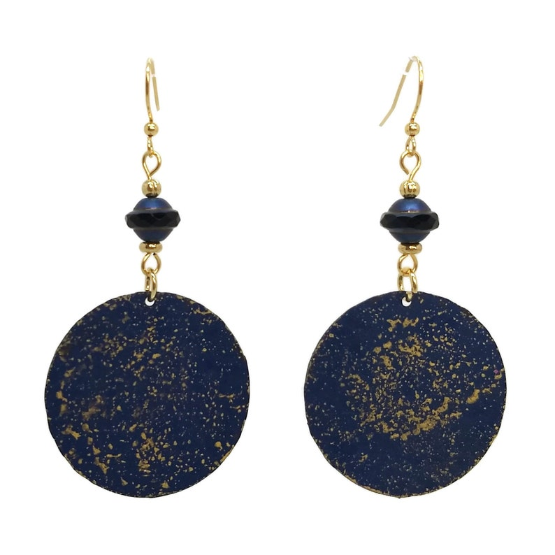 Navy Blue Painted Round Earrings Gold Plated Nickel Free Ear image 0