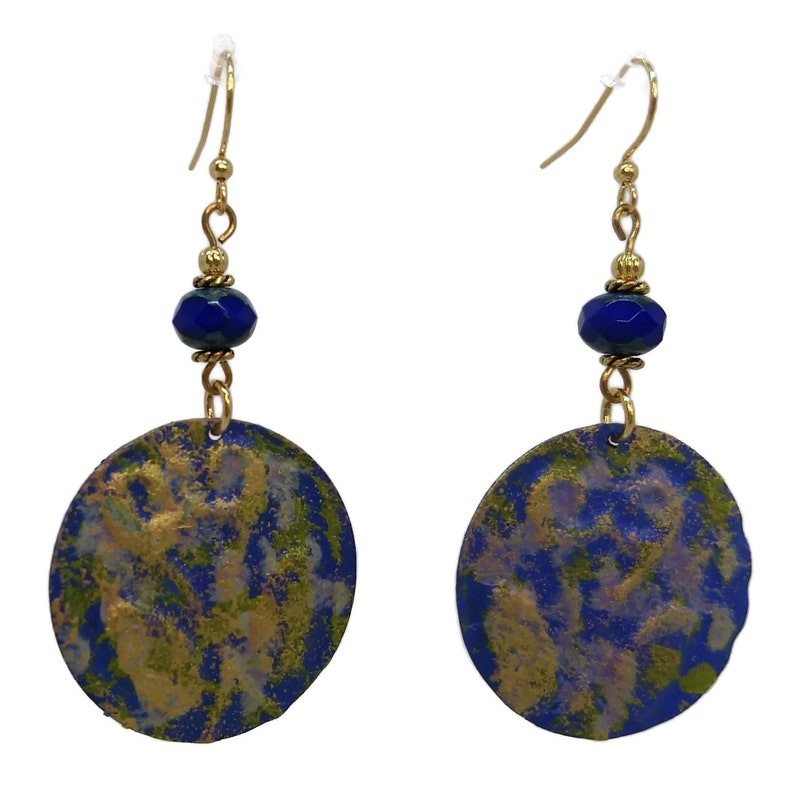Royal Blue & Olive Green Round Hand Painted Earrings Nickel image 0
