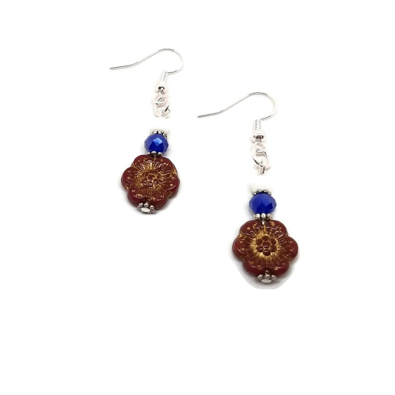 Cornflower Daisy Independence Day Red White Blue Flower Drop Earrings Nickel Free Wild Rose Floral Unique One of a Kind Handmade