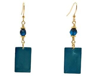Petite Teal Blue Rectangle Gold Plated Nickel Free Earrings, Dainty Cyan Ocean Tropical Sea Turquoise, Simple Minimalist Style, Boho Hippie