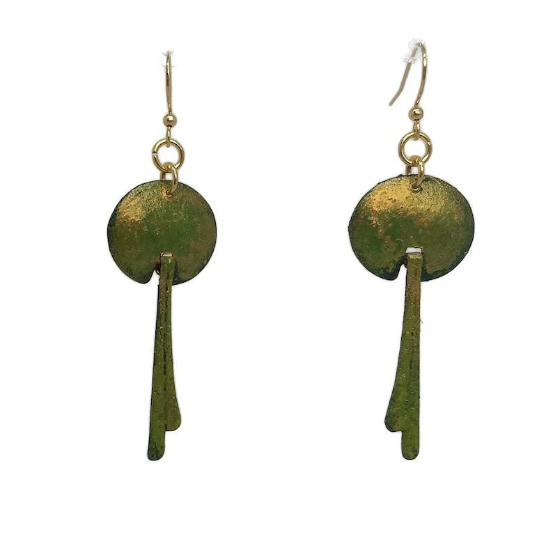 Forest Green Brass Earrings Gold Plated Nickel Free Ear image 0