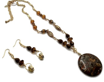 Golden Brown Round Sea Sediment Jasper Pendant Necklace with Earrings, Gold Plated Brass, Topaz Brown, Sparkly Nickel Free Earrings