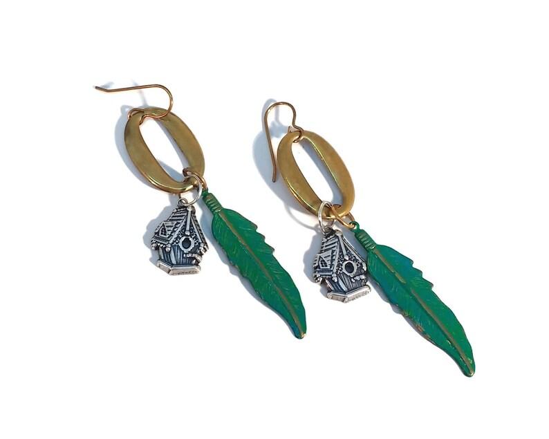 Birdhouse Earrings Feather Earrings Shoulder Dusters Brass image 0