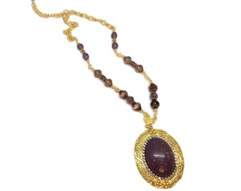 Plum Purple Floral Wreath Gold Plated Brass Victorian Style Pendant Necklace Prom Bridal Heirloom Jewelry Maroon Grape Boysenberry Mulberry