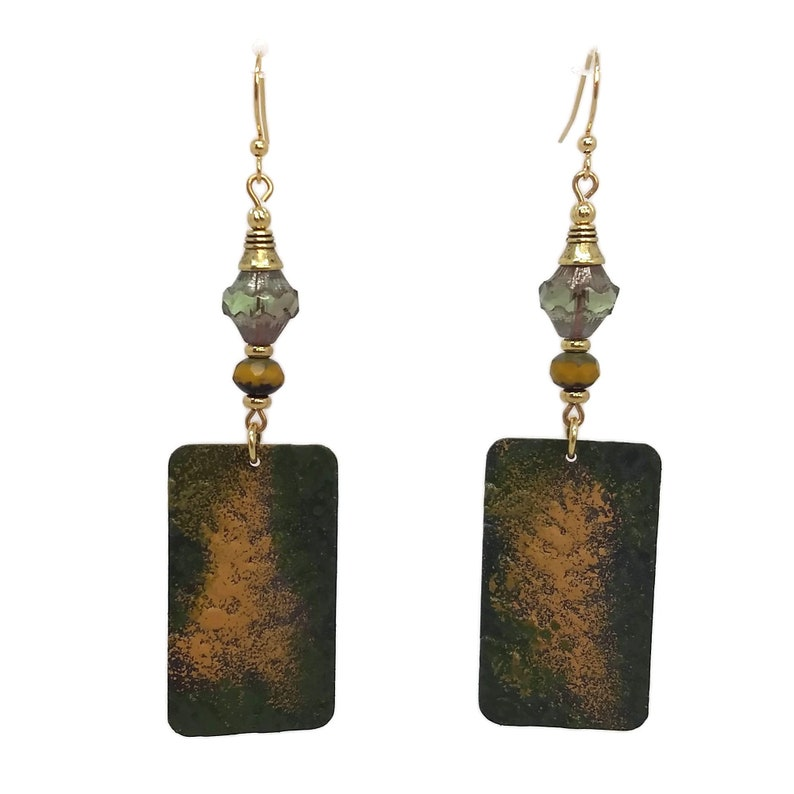 Forest Green & Mustard Yellow Fern Rectangle Brass Earrings image 0