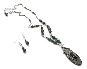 Gray & Green Oblong Oval Silver Plated Pewter Necklace with Malachite inlay and Nickel Free Earrings, Grey Earrings, Grey Necklace