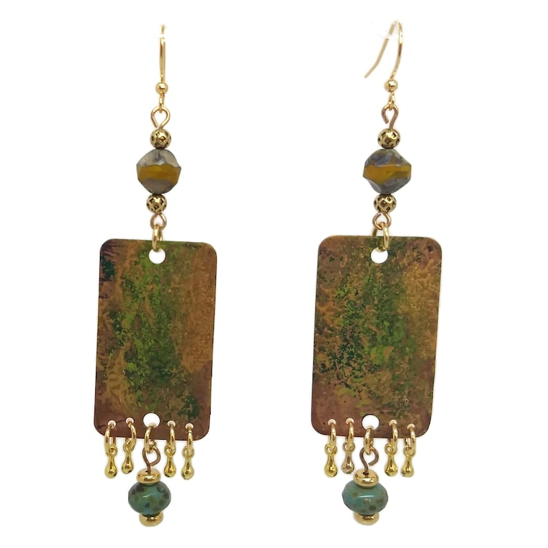 Olive Green & Mustard Yellow Copper Rectangle Fern Earrings image 0