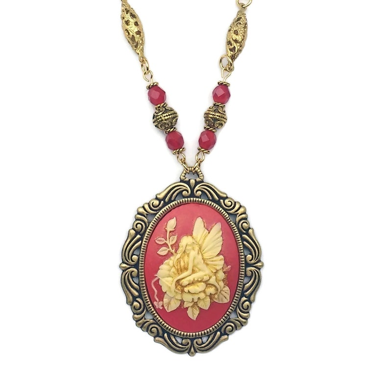 Handmade Jester Red Beaded Fairy Cameo Necklace Cherry Red image 0