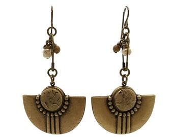 Cream & Beige Brown Floral Pendulum Earrings, Nickel Free Brass, Art Deco Style, Tan Flowers, Long Shoulder Dusters, Boho, Eye Catching