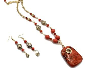 Rectangle Pumpkin Orange Jasper Necklace & Earrings, Gold Plated, Carnelian, Sponge Coral, Fall Colors, Halloween Necklace, Fall Necklace