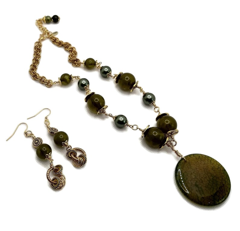 Olive Green Dragon Skin Agate Beaded Gold Plated Brass image 0