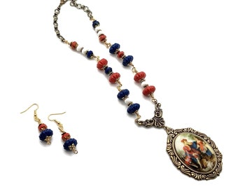 Red White & Blue Painting of Man and Child Portrait Brass Necklace with Earrings Set, Nickel Free Earrings, Patriotic Jewelry, 4th of July