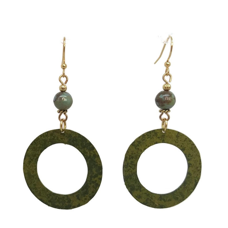 Olive Green Round Brass Hoop Earrings Nickel Free Gold Plated image 0