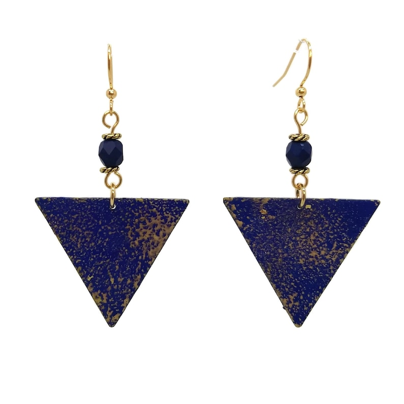 Navy Blue Painted Triangle Earrings Nickel Free Gold Plated image 0