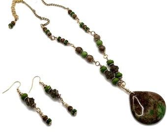 Peridot Green & Brown Sea Sediment Jasper Pendant Necklace, Long Nickel Free Earrings, Gold Plated, Jewelry Sets, Boho Gemstone Necklace