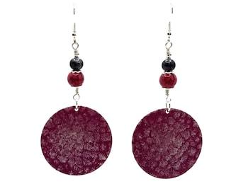 Fuchsia Pink Earrings, Silver Plated, Round Earrings, Long Earrings, Nickel Free Earrings, Boho Style Earrings, Shoulder Dusters, Rose Pink