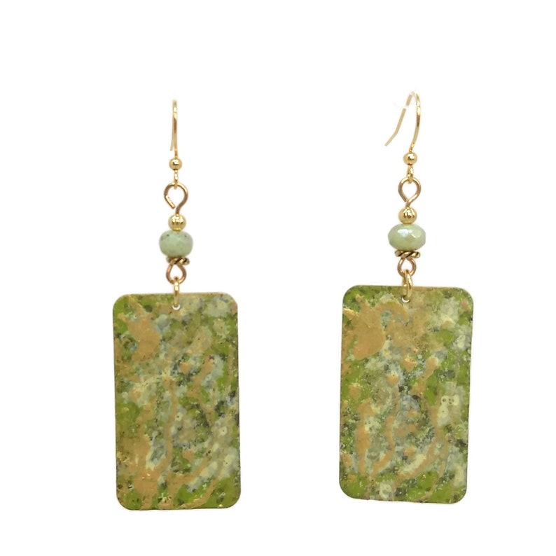 Chartreuse Green & Gold Rectangle Shoulder Duster Earrings image 0