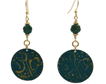 Teal Blue Stylized Tulips Earrings, Gold Plated Nickle Free, Floral Flower Hibiscus, Seafoam Green, Long Boho Style, Eye Catching, Unique