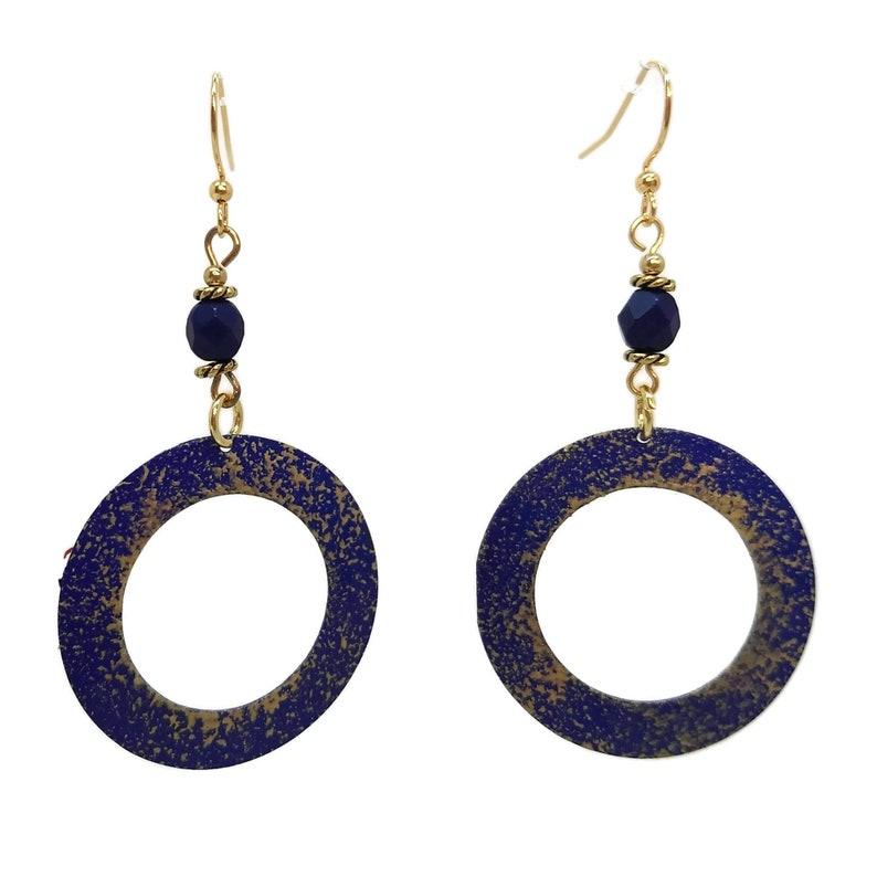 Dark Navy Blue Round Painted Hoop Earrings Nickel Free Gold image 0