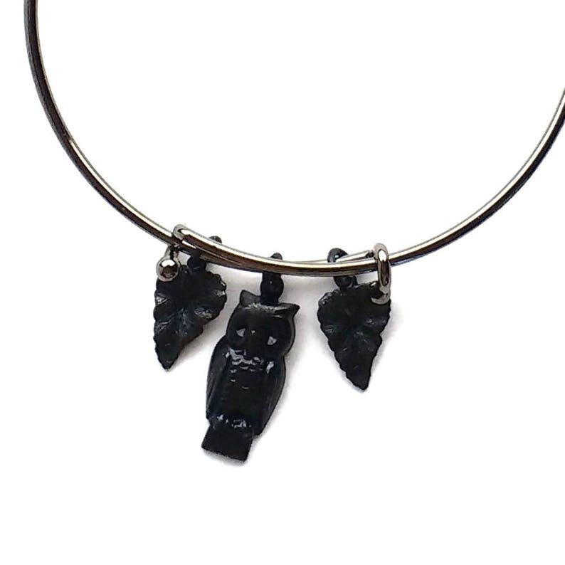 Owl & Leaves Black Charm Bracelet Expandable Stackable Cuff image 0