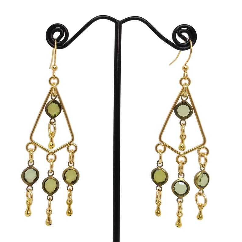 Gold Plated Nickel Free Triangle Shaped Green Dangle Drops image 0