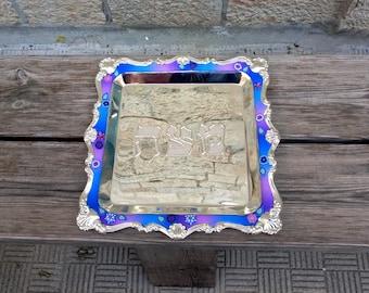 Matzah Plate, Passover Gift Seder Plate, Pesach Serving Plate, Jewish Wedding Gift, Matzah Serving Tray, Israeli art