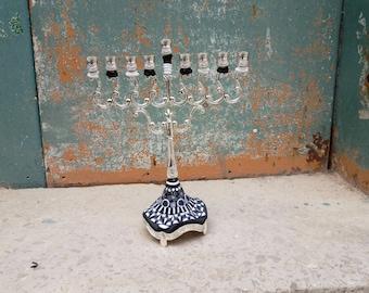 Geometric Menorah, Modern Hanukkah Gift  Judaica, Chanuka, Jewish Art, Candle Centerpiece, Jewish Wedding Gift, Made In Israel, Hanukia