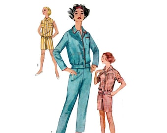 Women's Pajamas Sewing Pattern, in Two Lengths, Misses Size 16 Bust 36 UNCUT Vintage 1950's Simplicity 2775