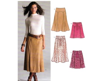 Women's Skirt Sewing Pattern, Front and Back Yokes, Midi Length or Shorter Skirt, Misses Size 8-10-12-14-16-18 UNCUT OOP New Look 6511