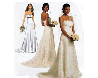 Wedding Dress Pattern Strapless Empire Waist Train Gown Bridal Sewing Size 14 16 18 20 22 UNCUT Butterick B5325