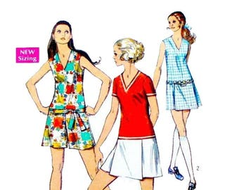 1960's Mini Pantdress Romper, Women's Sewing Pattern, V-Neckline, Sleeveless or Short Sleeves Misses Size 12 Bust 34 Vintage Simplicity 8657