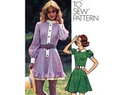 Retro Flared Mini Dress, Women's Sewing Pattern, Misses' Size 10 Bust 32 1/2 Vintage 1970's Simplicity 9803