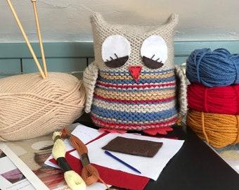 Beginner Knitting Kit / knitting Kit Owl / Learn To Knit Kit / Good project for kids