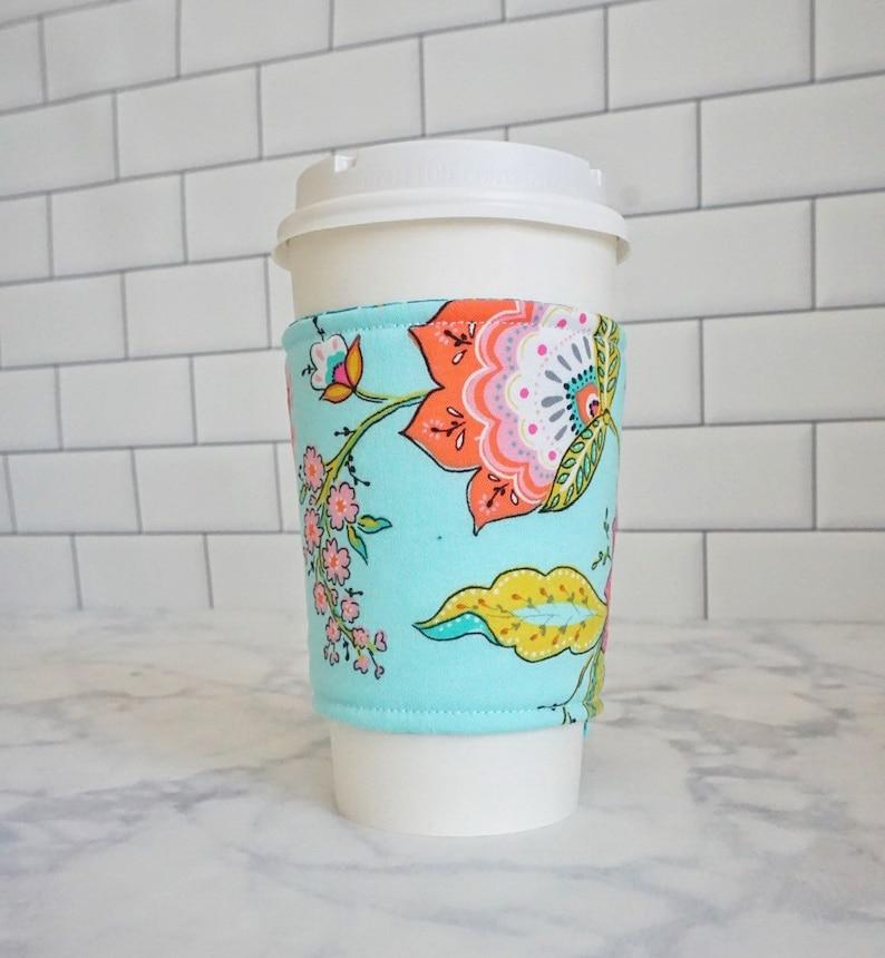 Reusable Coffee Sleeve-Aqua Floral Print image 0
