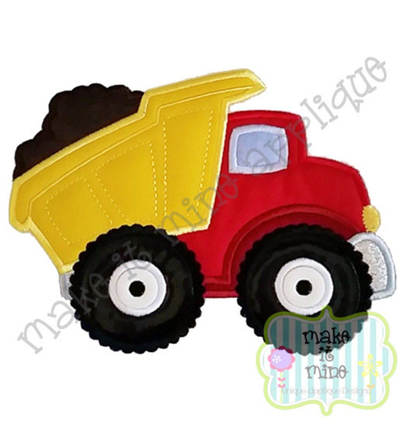 Applique Embroidery Construction Dump Truck Machine Applique Etsy