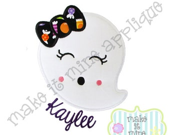 Applique Embroidery Halloween Girly Ghost with a Bow Machine Applique Design