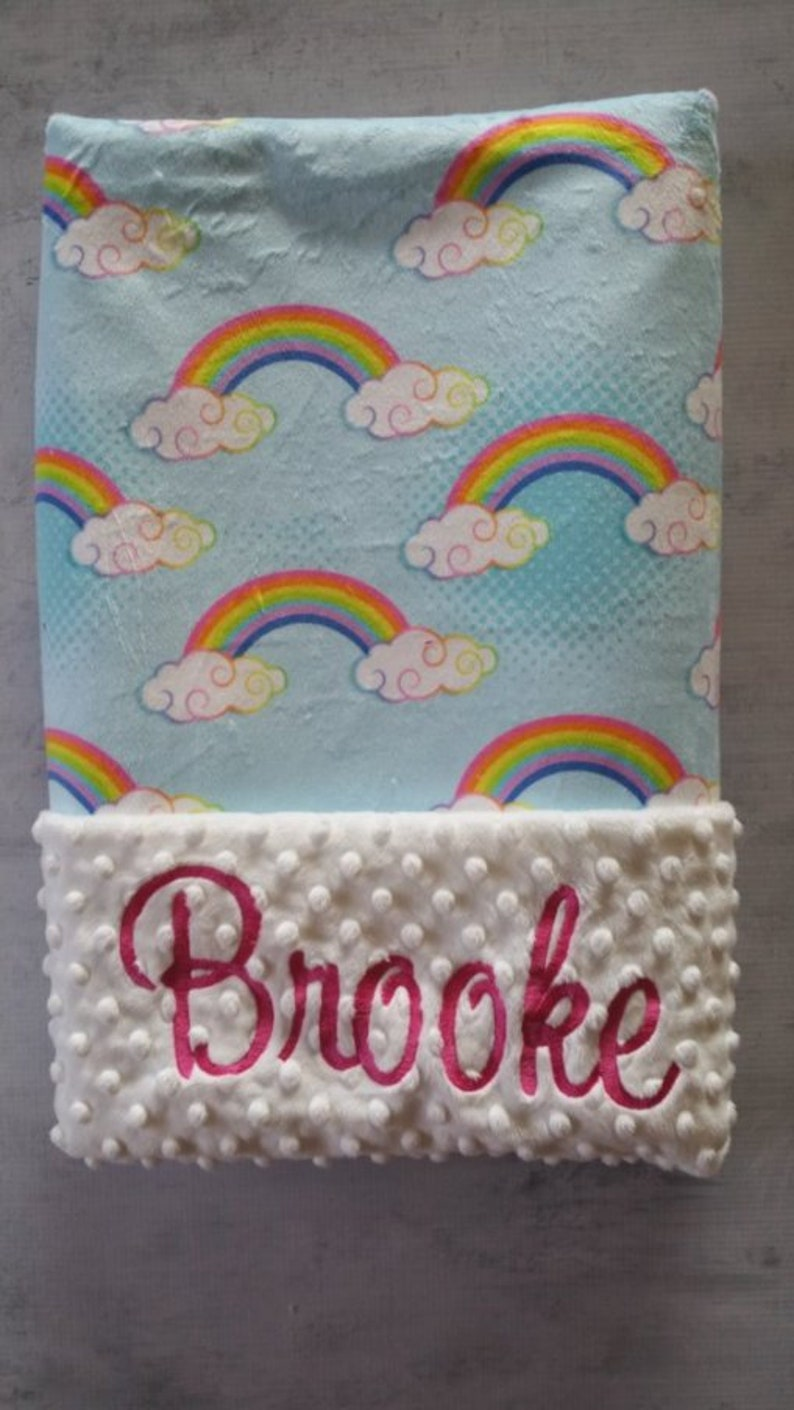 Personalized Baby Shower Gift Personalized Minky Baby Boy Blanket Personalized Baby Girl Blanket with Name Personalized Rainbow Blanket