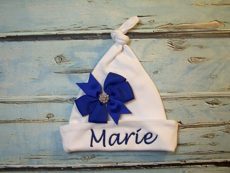 Baby hospital Hat Newborn hat Baby name hat Free shipping Personalized beanie hat Baby gift Baby shower gift Baby hat Monogrammed hat /& bow