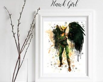 Hawk Girl Watercolor Superhero Print, Hawk Girl Wall Decor, Hawk Girl Home Decor, Kids Decor, Nursery Decor, Girl Marvel DC Comic Hero Print