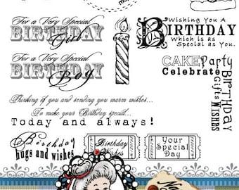 Birthday set 2 Word Art Sentiments Digital Digi Instant Download ID:NV-WA0015 By Nana Vic
