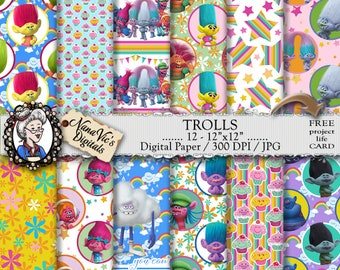 Trolls Digital Paper, Trolls Party, seamless backgrounds, Scrapbooking Printable, Trolls Paper Supplies, photography drops, 12 H Res 300 DPI