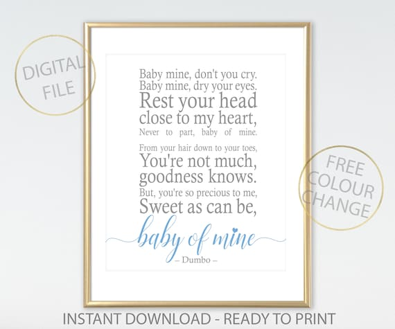 Dumbo BABY of MINE Disney quote: Baby of Mine Printable | Etsy