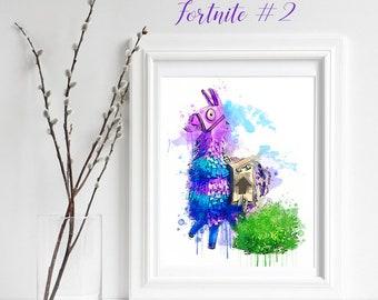 Fortnite Print, Llama and Bush Fortnite Decor, Fortnite Wall Art, gift for her, battle royal, Fortnite poster printable, Girl Cave, Fortnite