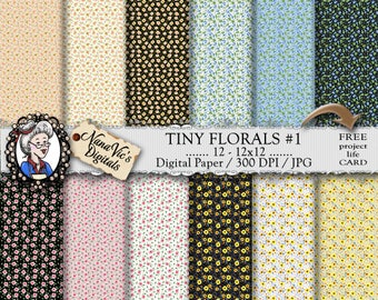 Floral Digital Paper, Miniature flower pattern, tiny flower paper, floral backgrounds,  Printable, photography, petite scrapbooking paper