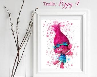 TROLLS; Poppy 4 Print, Trolls Watercolor, Trolls Nursery Decor, Troll Wall Art, gift for her, playroom decor, Poppy 3 dance, Troll happy