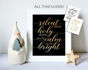 Christmas, Silent Night ... all is calm all is bright Print, Christmas Decor, Christmas Wall Art, Christmas Printable, Christmas Typography