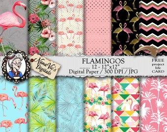 Flamingo Digital Paper, Tropical Patterns, flamingo designs, flamingo backgrounds, dots chevron textures, seamless Scrapbooking Printable