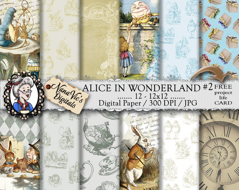 Alice in Wonderland Digital Papers 2: vintage collage sheet image 0