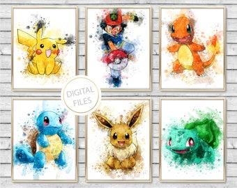 Pokémon Prints 5x7, Pikachu Ash Charmander Squirtle Eevee Bulbasaur, Pokemon Art Print, Pokemon Party | Kids | Nursery | Playroom Decor